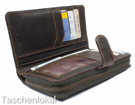 051e68aa4caf5 Greenland Westcoast Damen Geldbörse Geldbeutel XL Büffel Leder Braun OVP